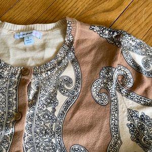 Longer length patterned cardigan